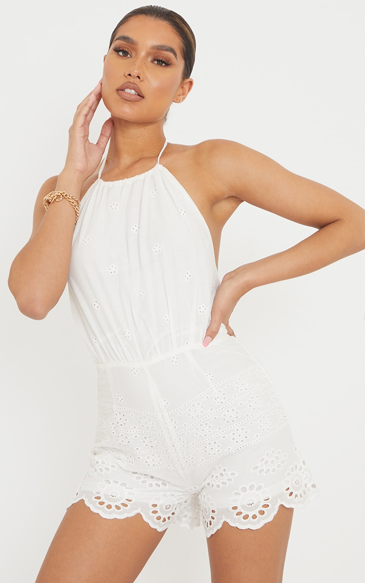 White Broderie Anglaise Halterneck Playsuit 3