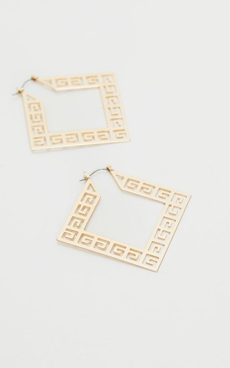 Gold Diamond Greek Key Cut Out Hoop Earrings 2