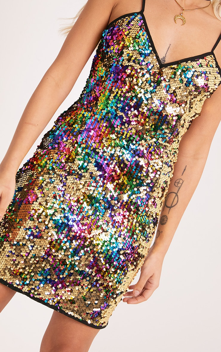 Kamillia Multi Rainbow Sequin Plunge Bodycon Dress 5