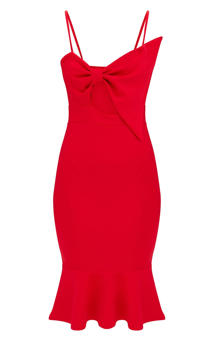 Red Strappy Bow Detail Fishtail Midi Dress 3