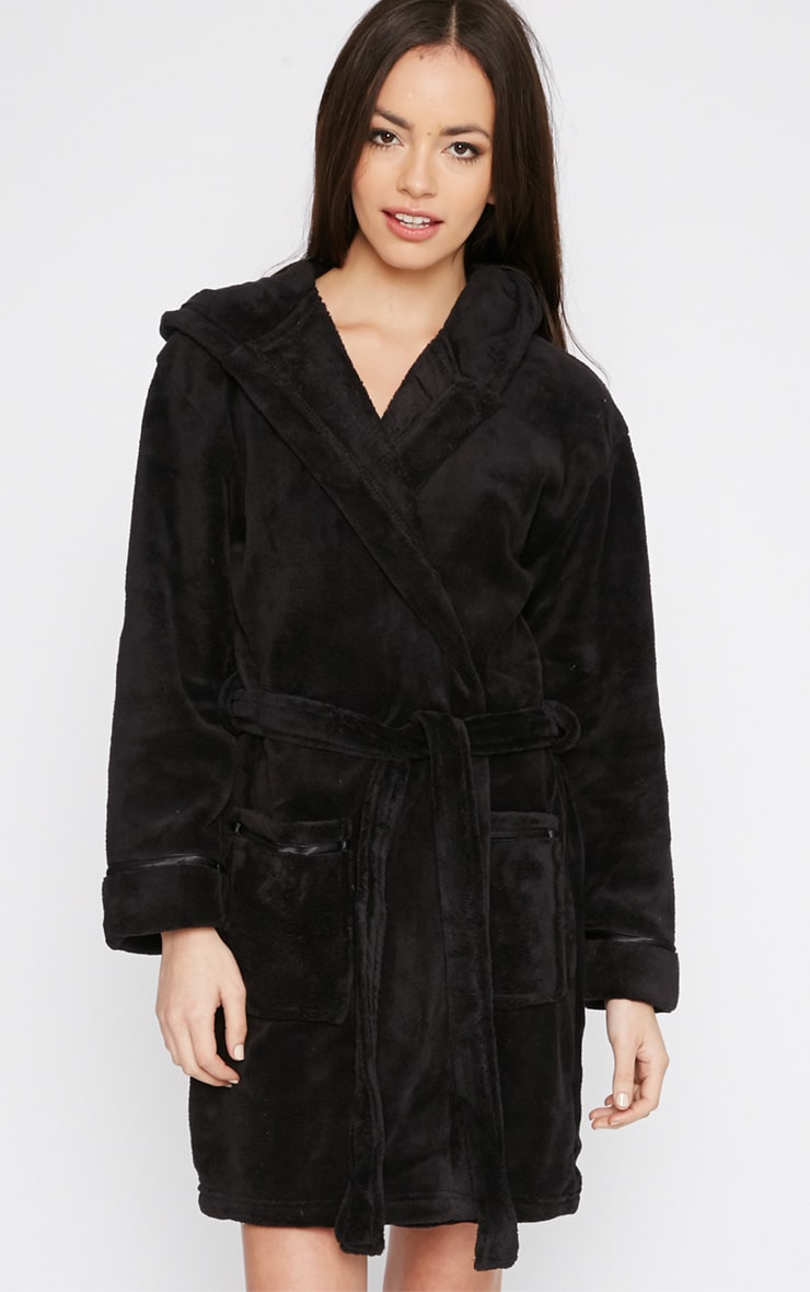 Erin Black Fleece Dressing Gown  4
