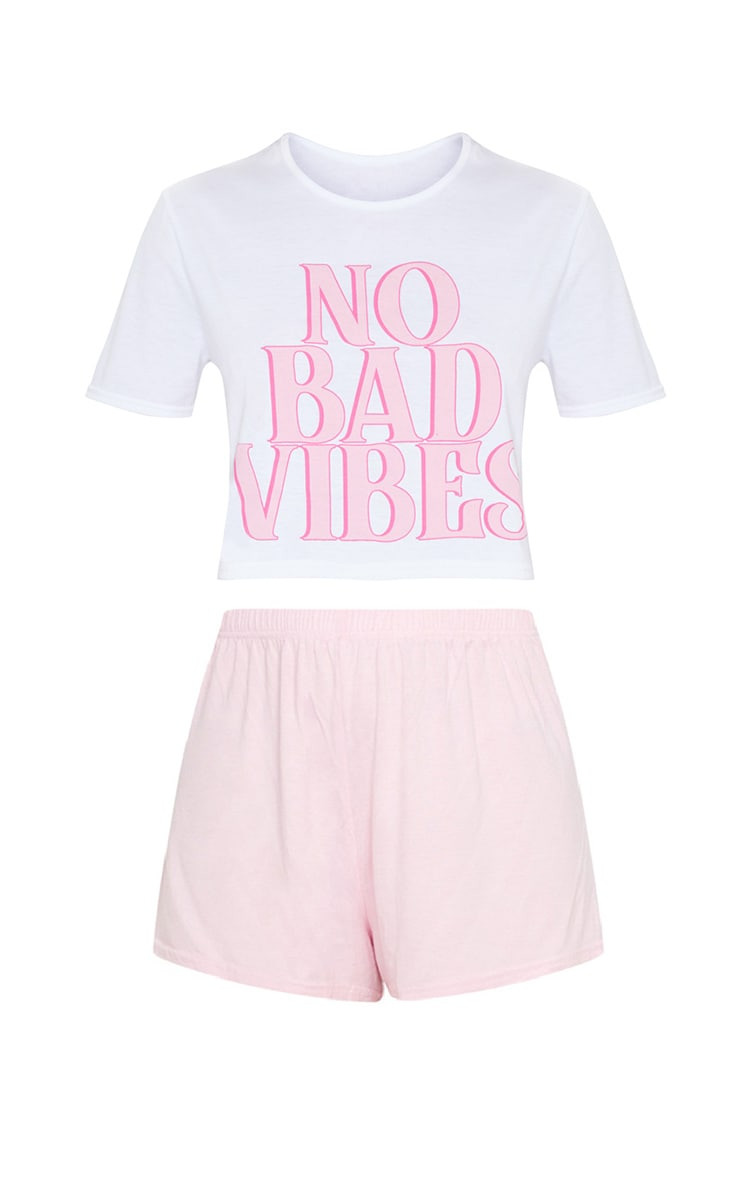 Pink No Bad Vibes Short PJ Set 6