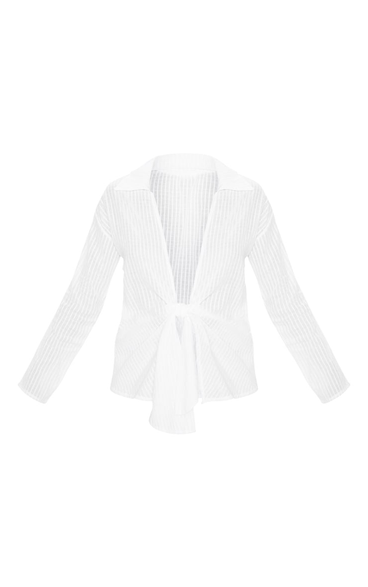 Chemise tissée texturée blanche à noeud frontal 3