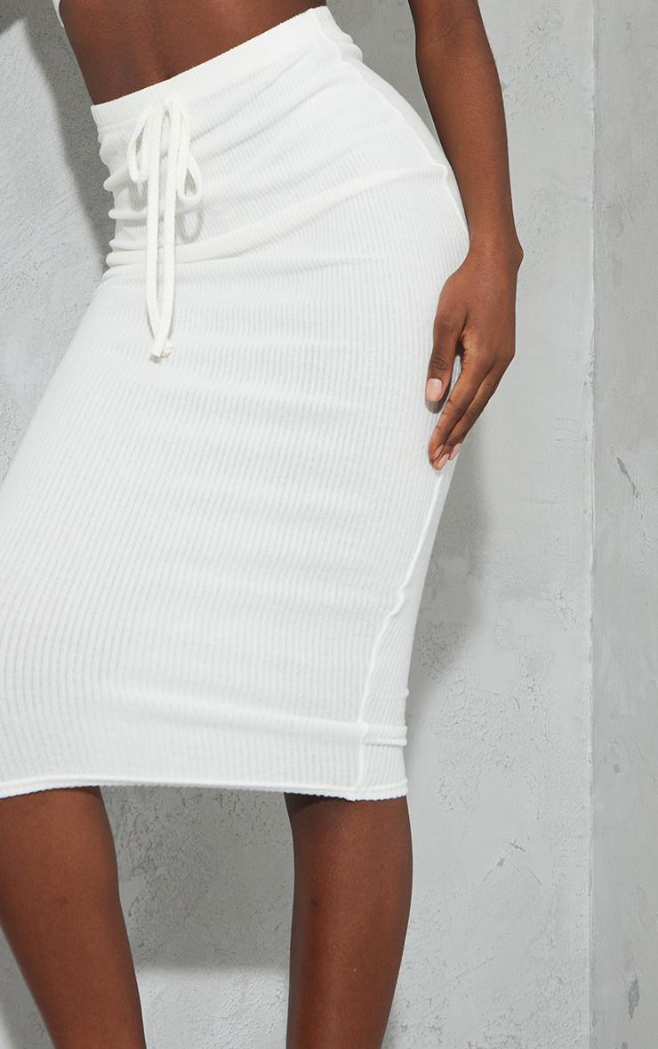 Tall Cream High Waisted Brushed Midi Skirt 4