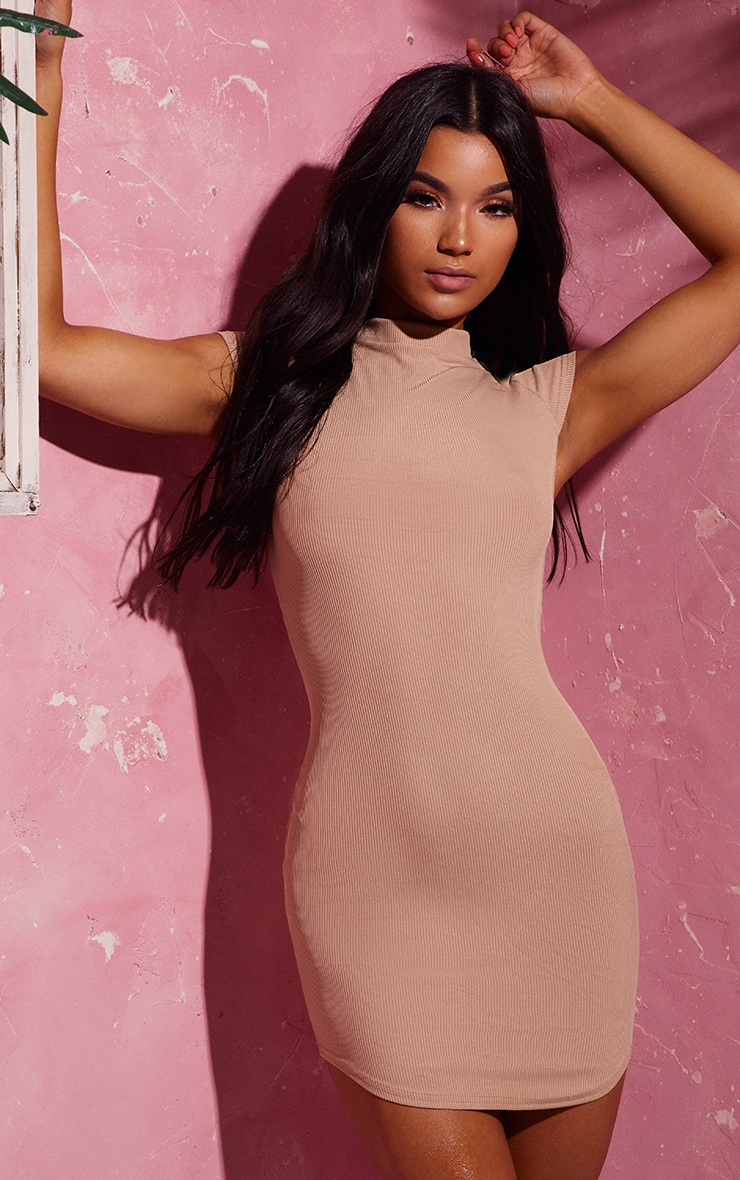 Stone High Neck Ribbed Bodycon Dress 1