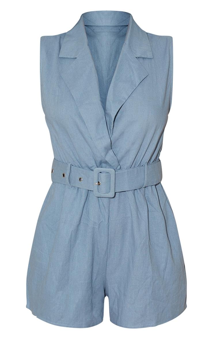 Baby Blue Sleeveless Wrap Belt Detail Romper 5