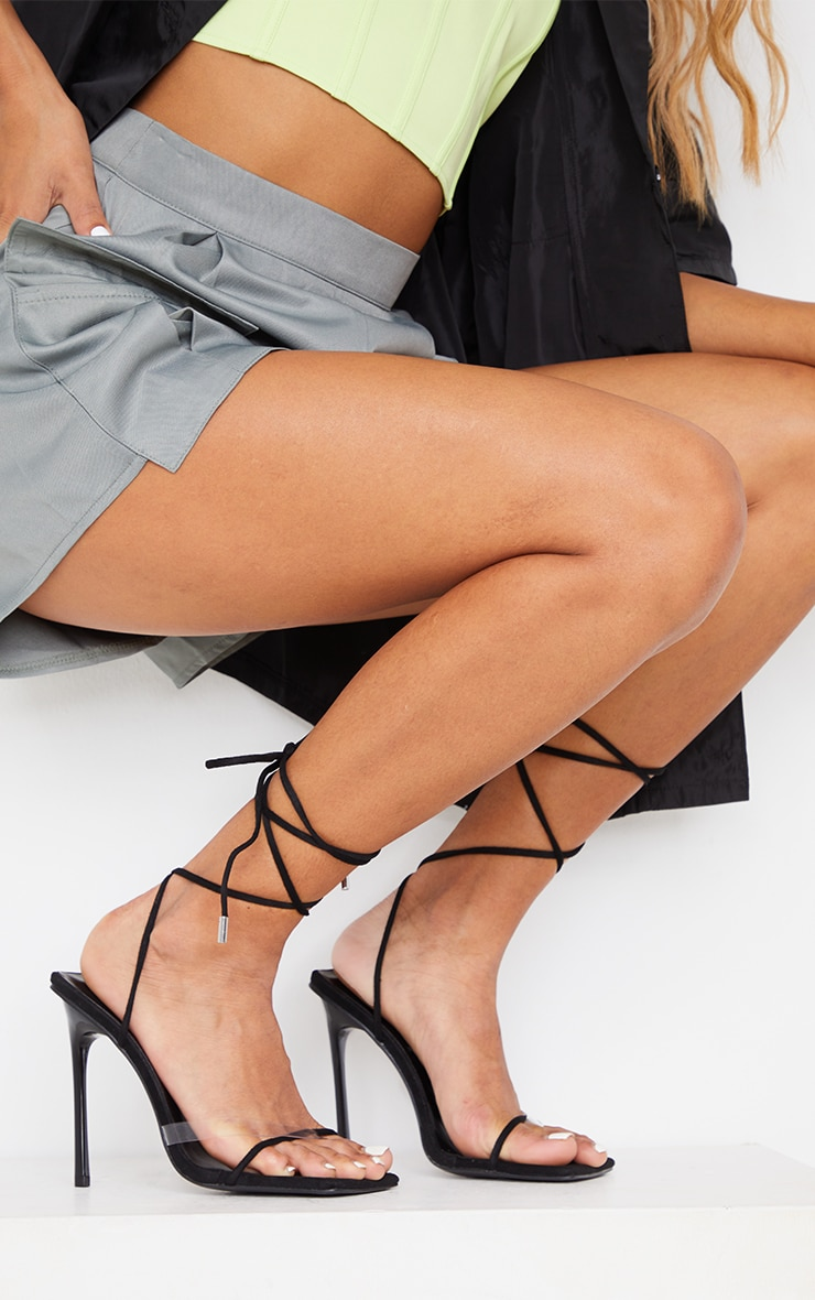 Black Faux Suede Square Toe Clear Strap Heeled Sandals 1