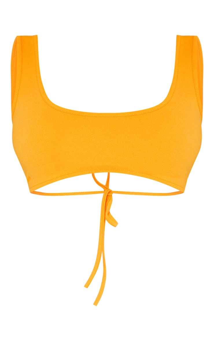 Bright Orange Mix & Match Crepe Scoop Neck Strap Crop Top 3