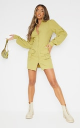 Olive Pocket Detail Utility Bodycon Dress 3