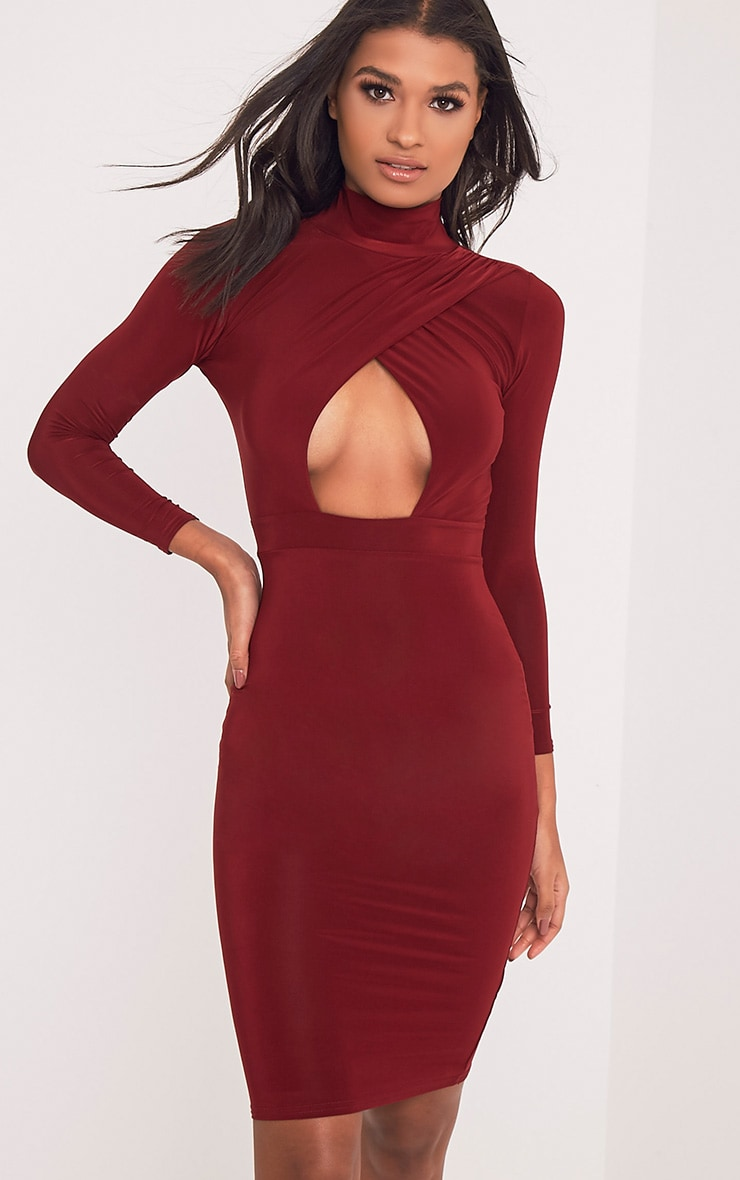 Vick Burgundy Slinky Keyhole Dress 1