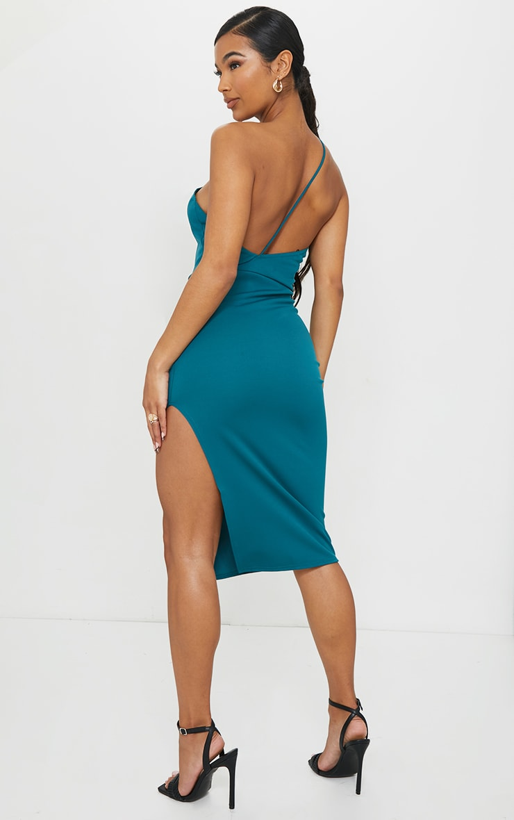 Emerald Green Strappy One Shoulder Midi Dress 2