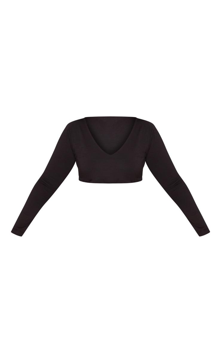 PLT Plus - Crop top manches longues noir décolleté  3