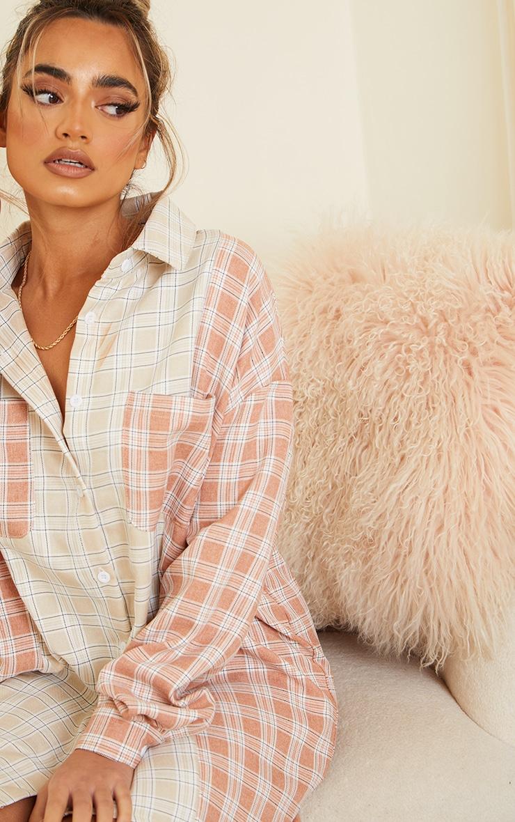 Petite Camel & Rust Mixed Checked Shirt Dress 4