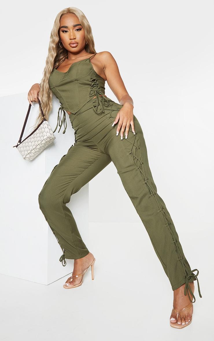 Shape Khaki Lace Up Detail Skinny Pants 1