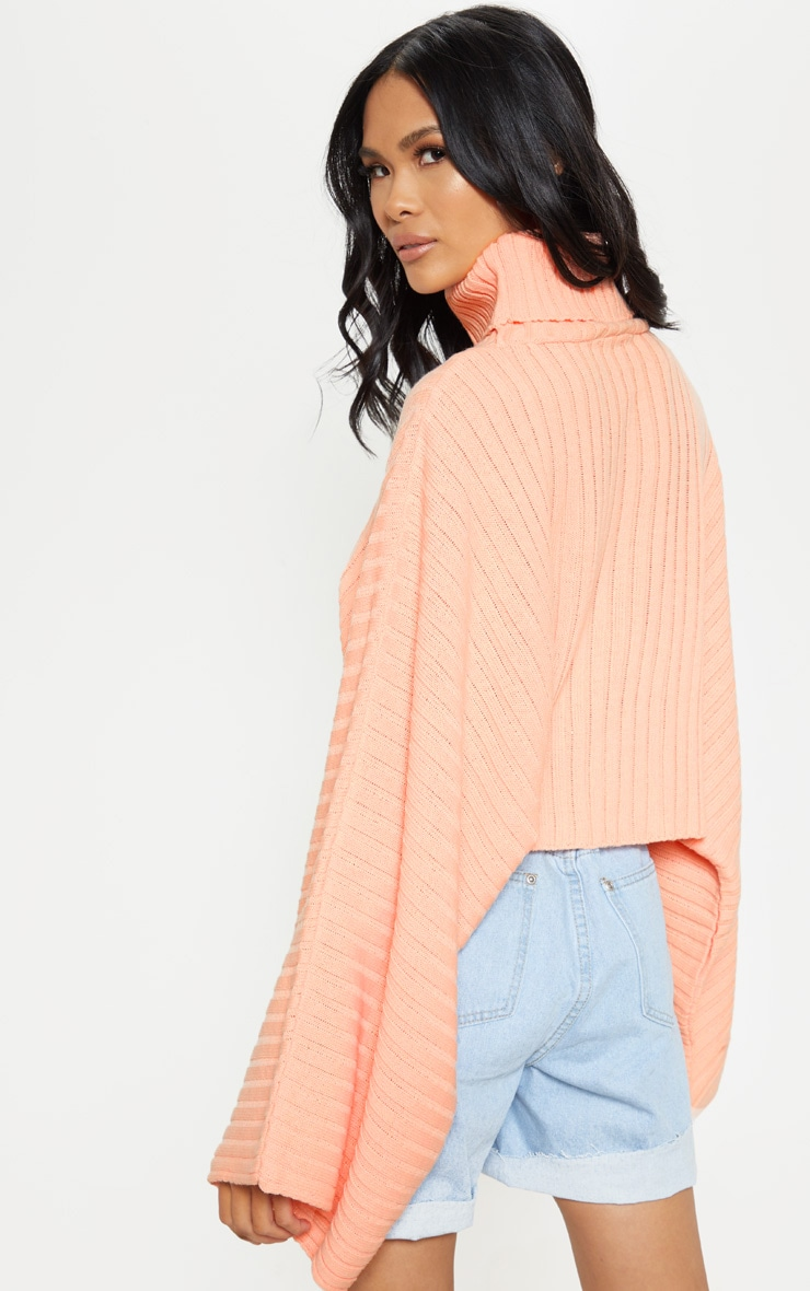 Peach Ribbed Knit High Neck Jumper  2