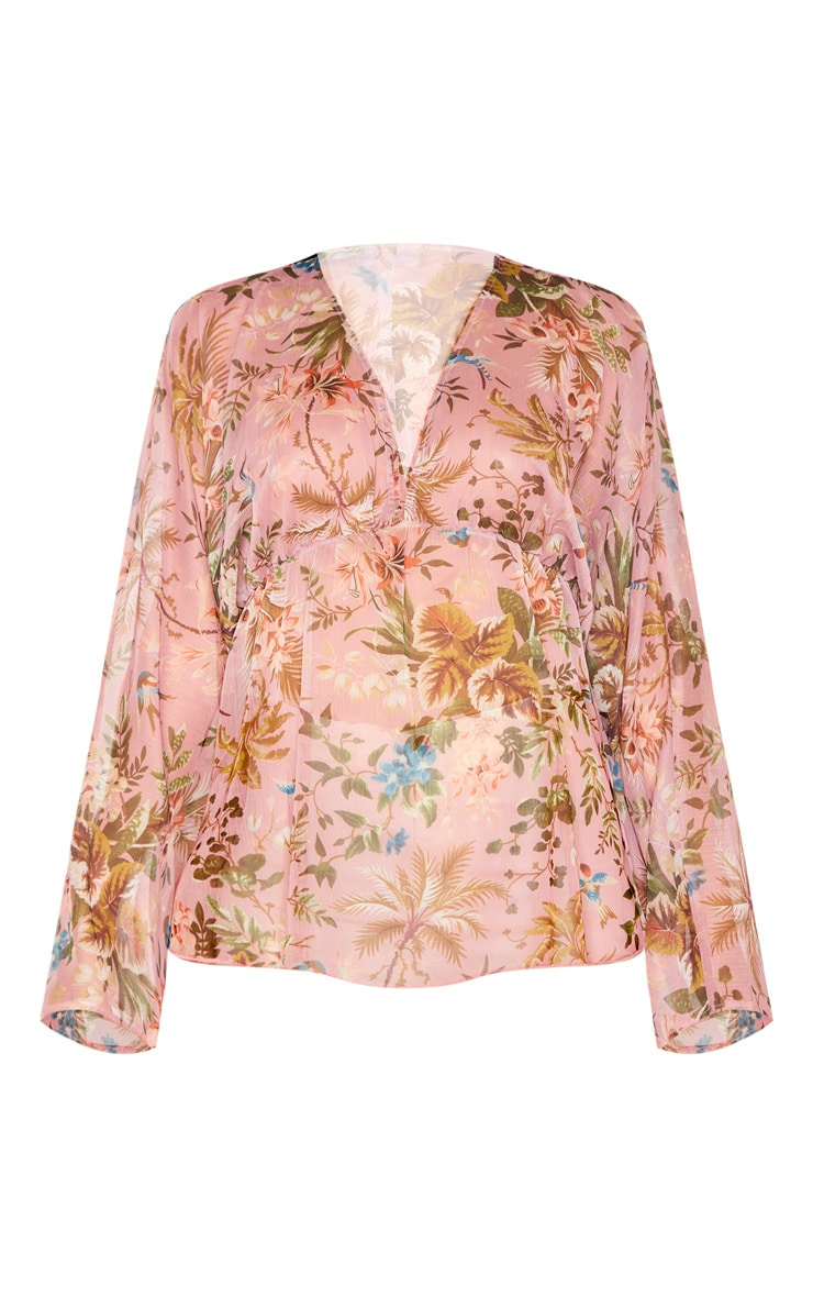 Pale Pink Floral Printed Plunge Ruched Sleeve Top 3