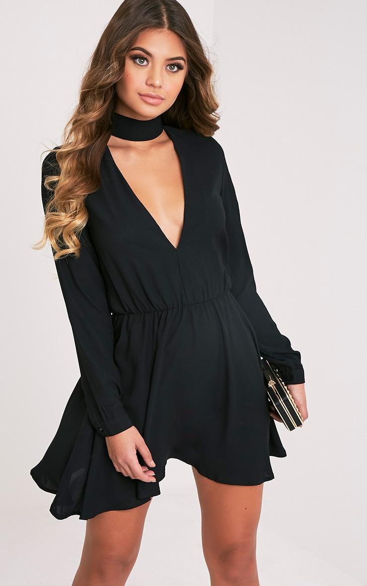 Helena robe trapèze ras du cou noire 1