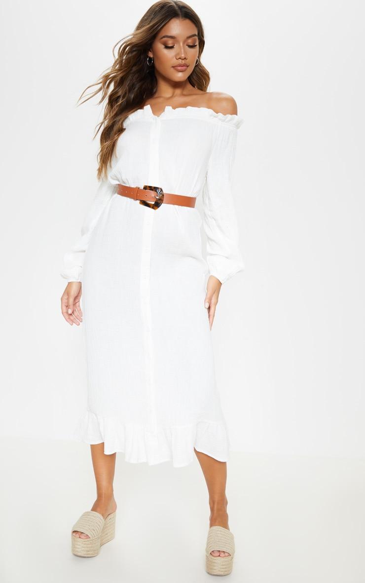 White Frill Hem Bardot Maxi Dress 1