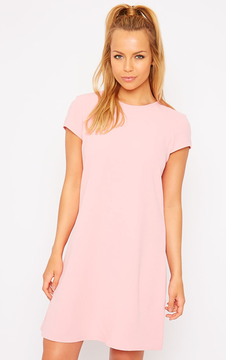 Sabra Pink Waffle Loose Fit Shift Dress 4