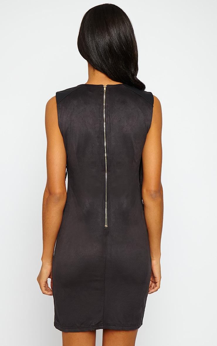 Talitha Black Suedette Fringe Dress 2