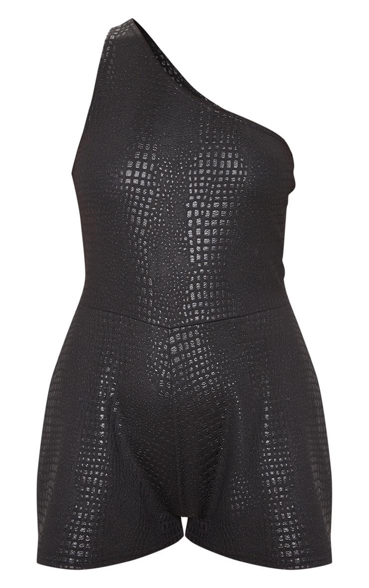 Black Croc Print One Shoulder Playsuit 3