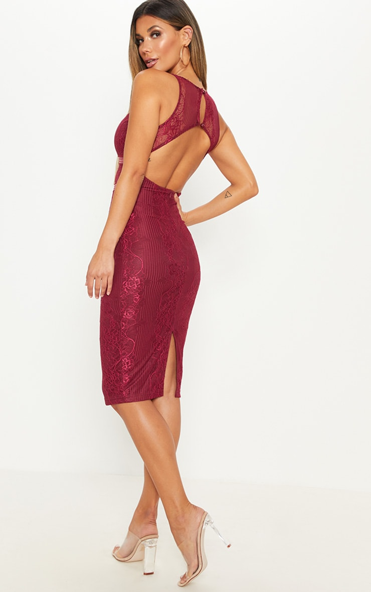 Burgundy Plunge Lace Open Back Midi Dress 2