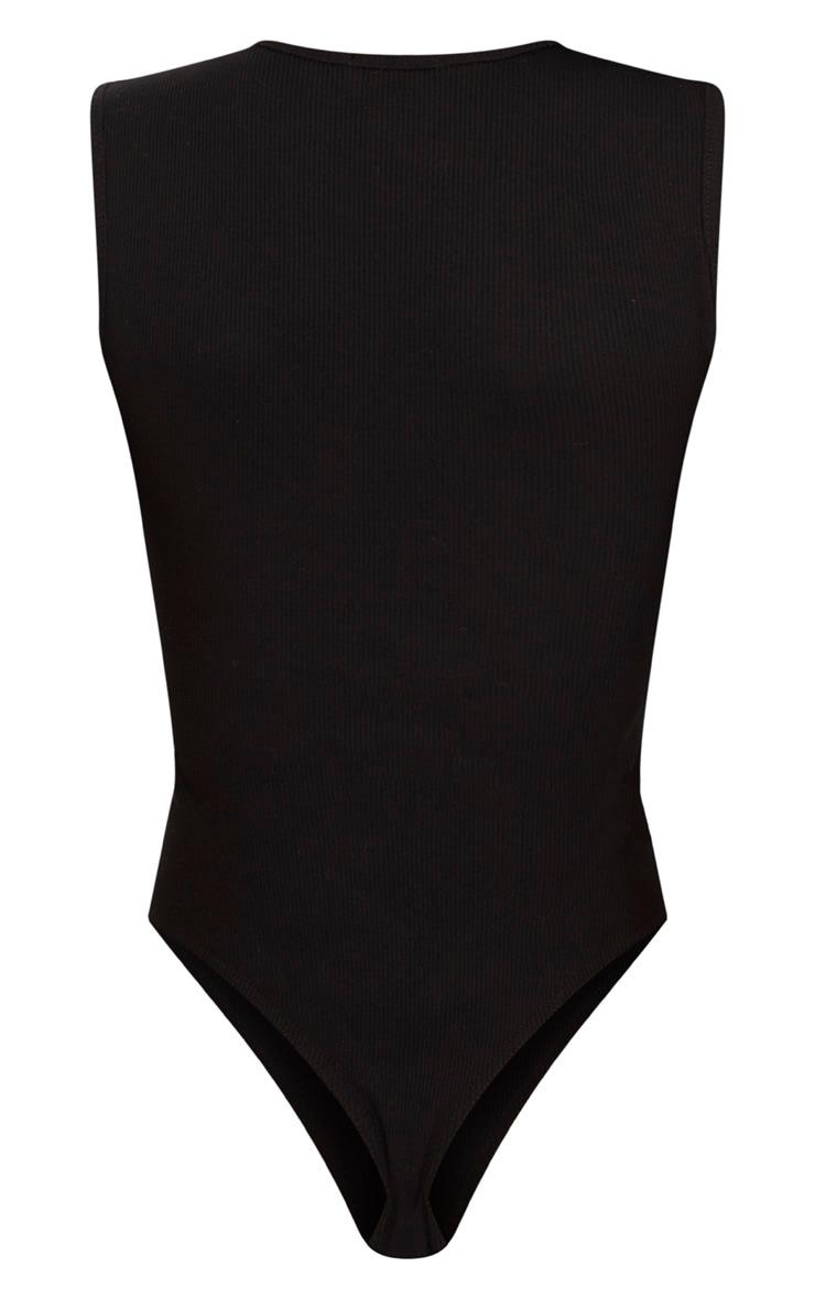 Black Rib Zip Front Thong Bodysuit  4