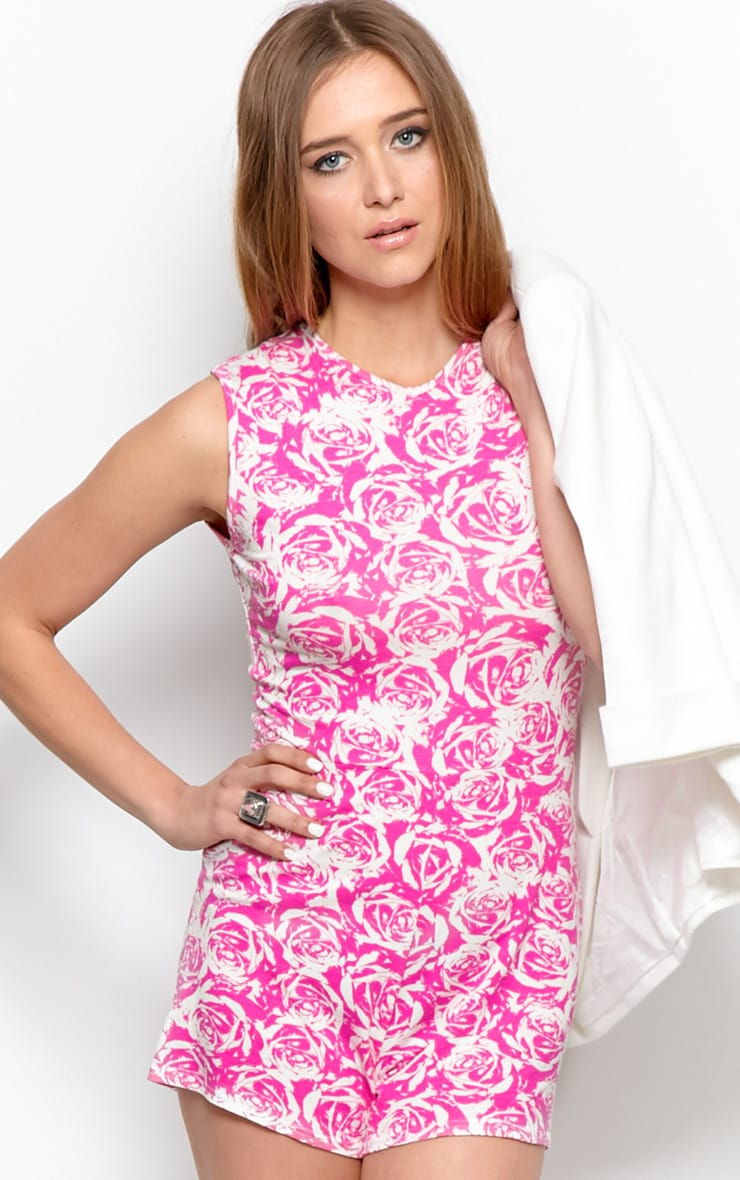 Lydia Pink Rose Print Playsuit-S/M 5