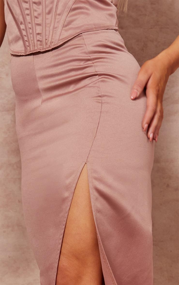 Mocha Satin Midi Split Back Midaxi Skirt 4