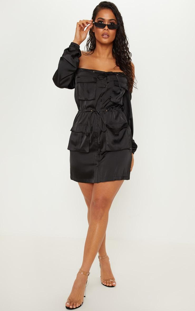 Black Satin Utility Bardot Shift Dress by Prettylittlething