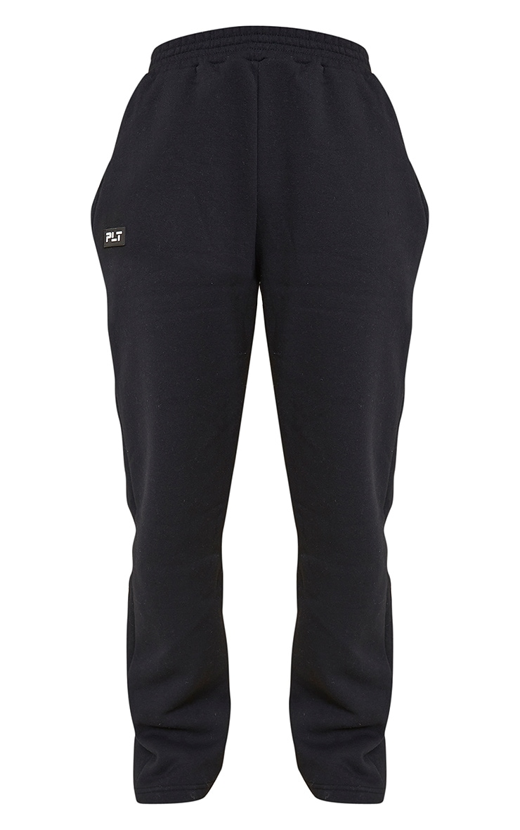 PRETTYLITTLETHING Black Badge Detail Straight Leg Jogger 5