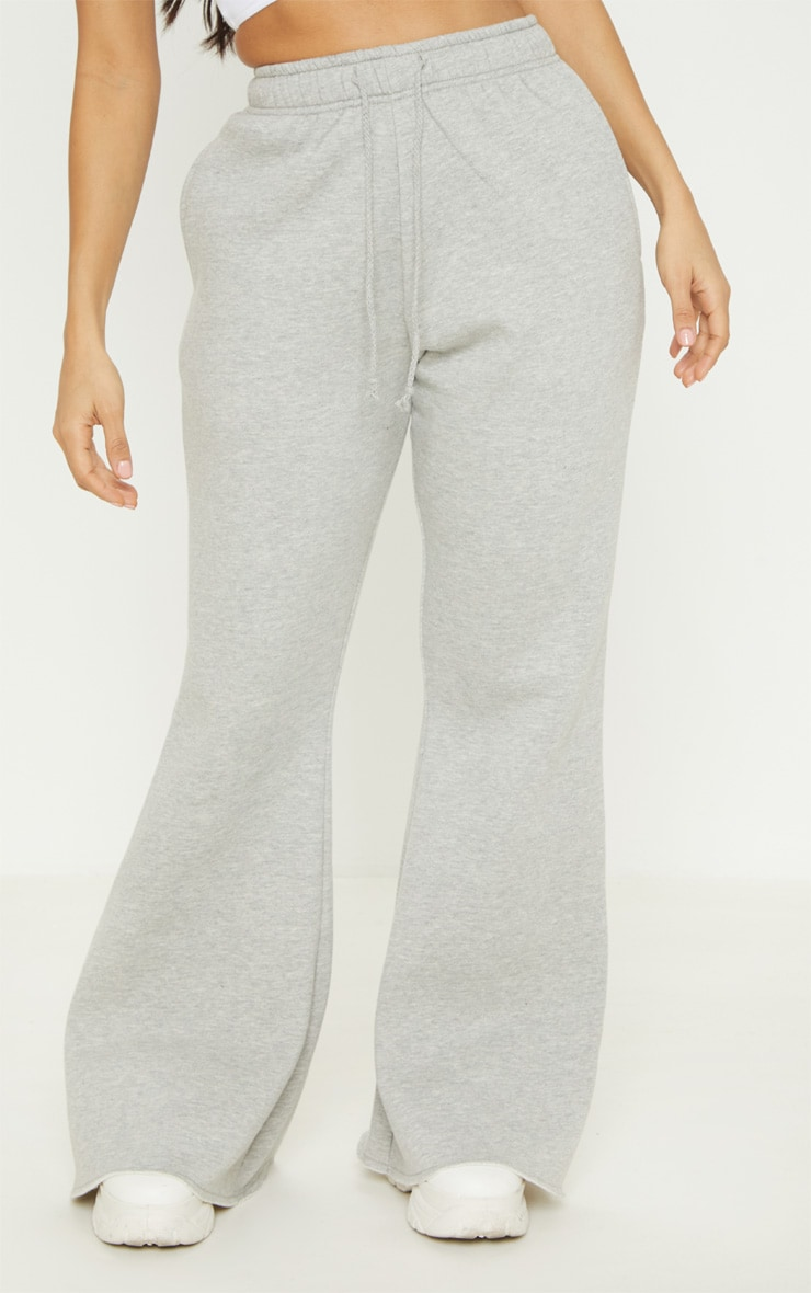 Grey Drawstring Waist Flare Leg Sweat Track Pants 2