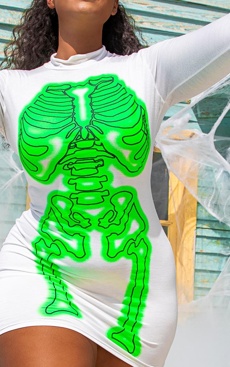 PLT Plus - Robe moulante blanche à imprimé squelette fluo 5