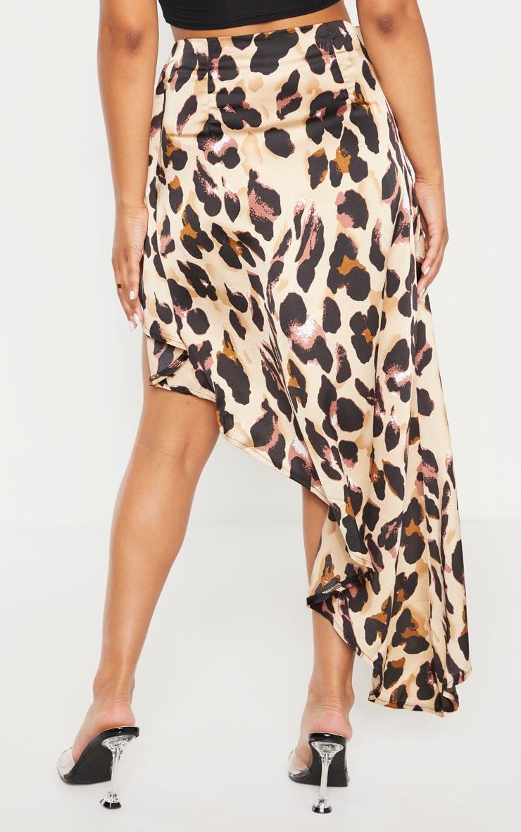 Petite Tan Leopard Print Satin Asymmetric Skirt 4