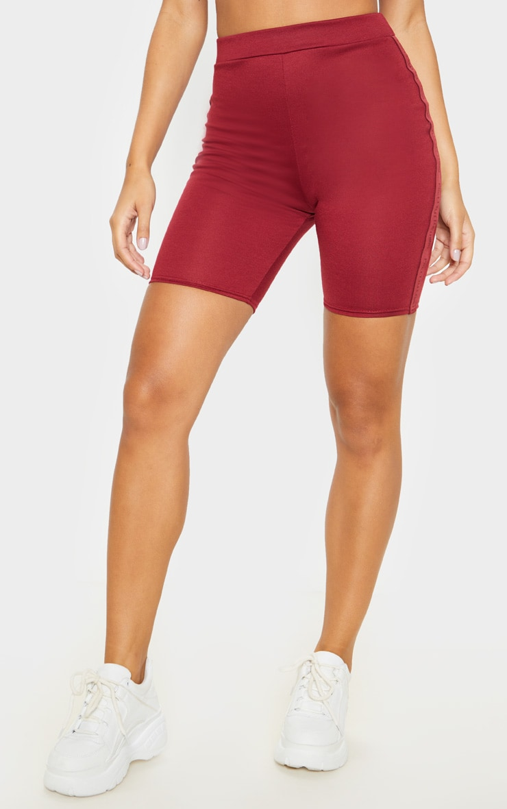 PRETTYLITTLETHING Maroon Side Tape Cycle Short  2