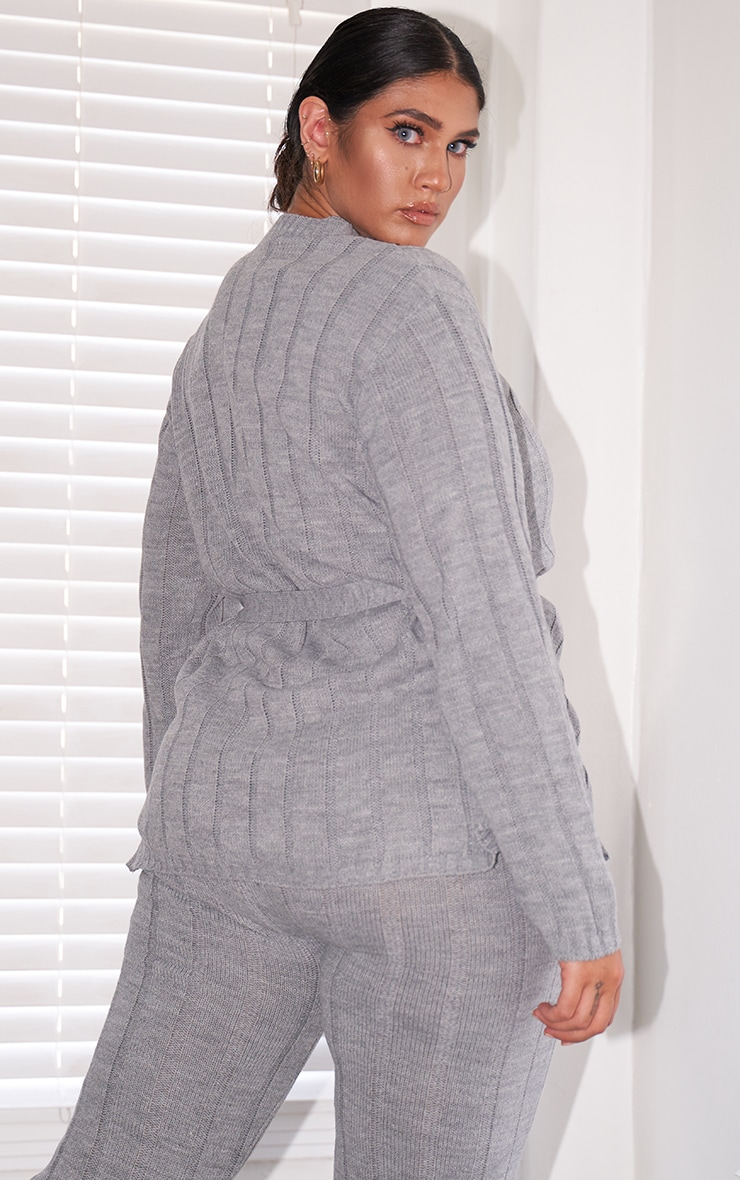 Plus Grey Belted Longline Sweater And Leggings Lounge Set 2