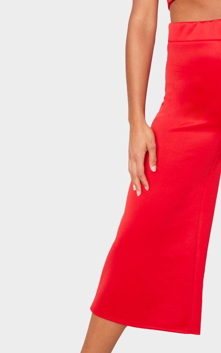 Red Basic High Waisted Scuba Culottes 5