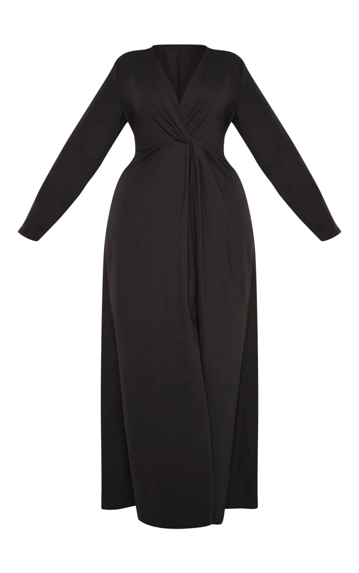 Plus Black Twist Front Maxi Dress 3