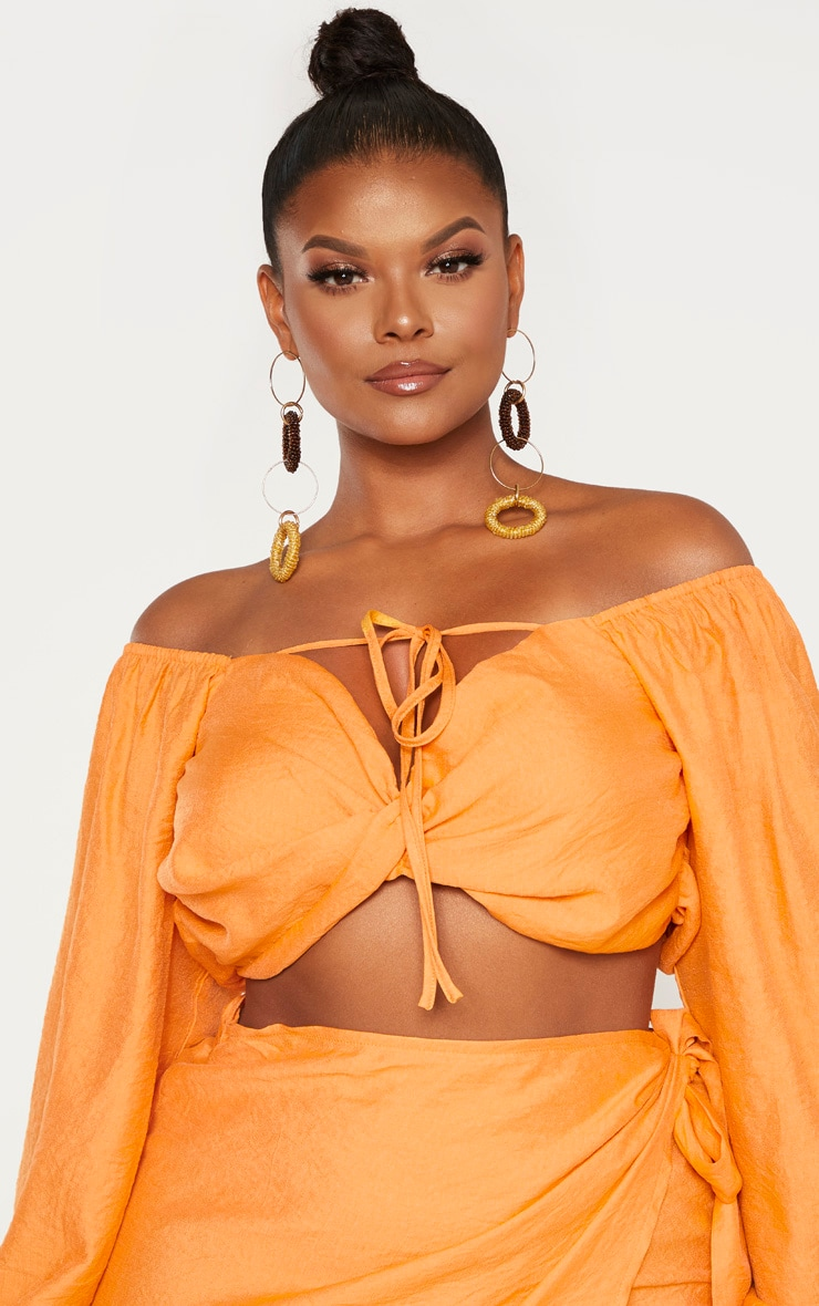 Plus Orange Woven Twist Front Tie Neck Bardot Crop Top 5
