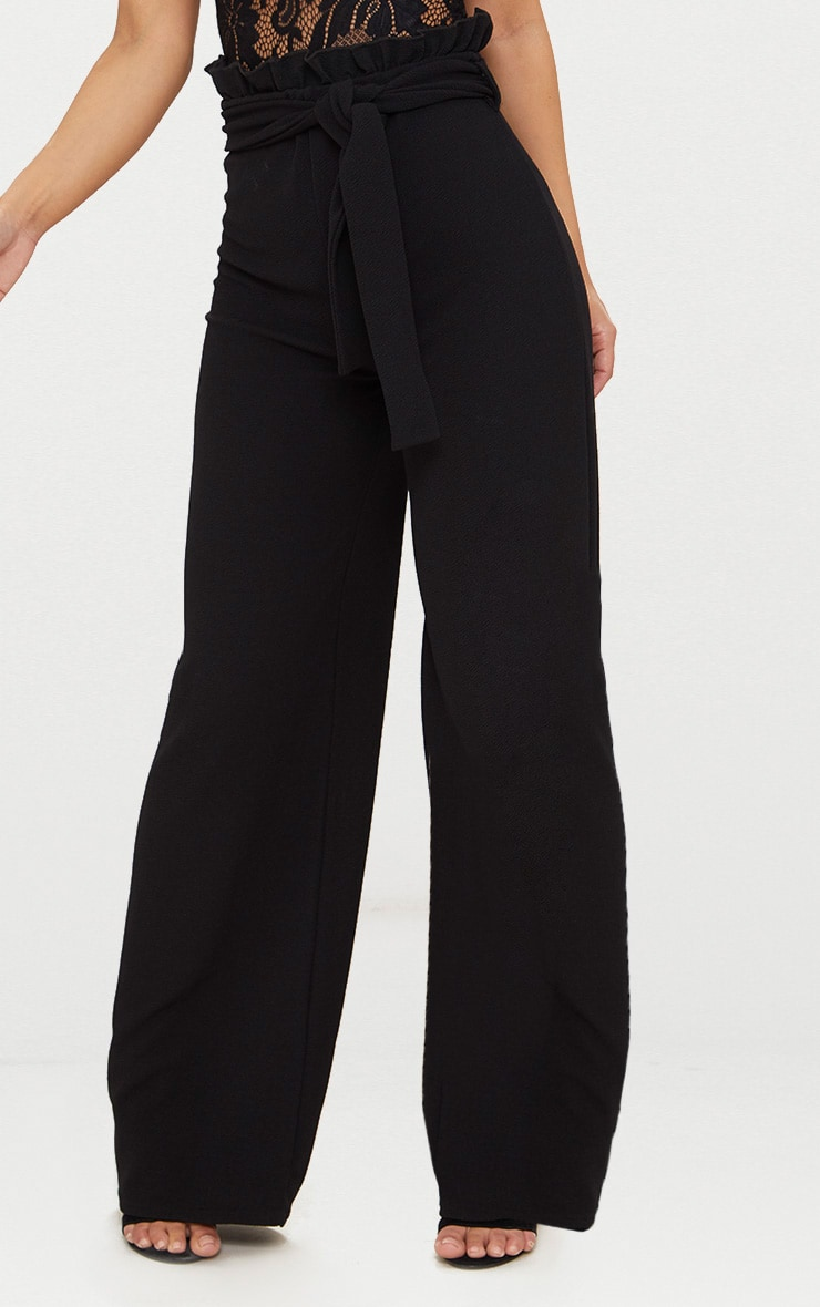 Petite Black Paperbag Wide Leg Trousers 2