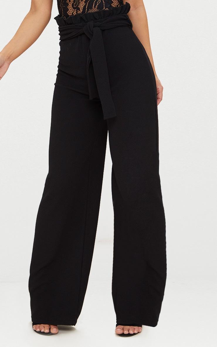 Petite Black Paperbag Wide Leg Pants 2