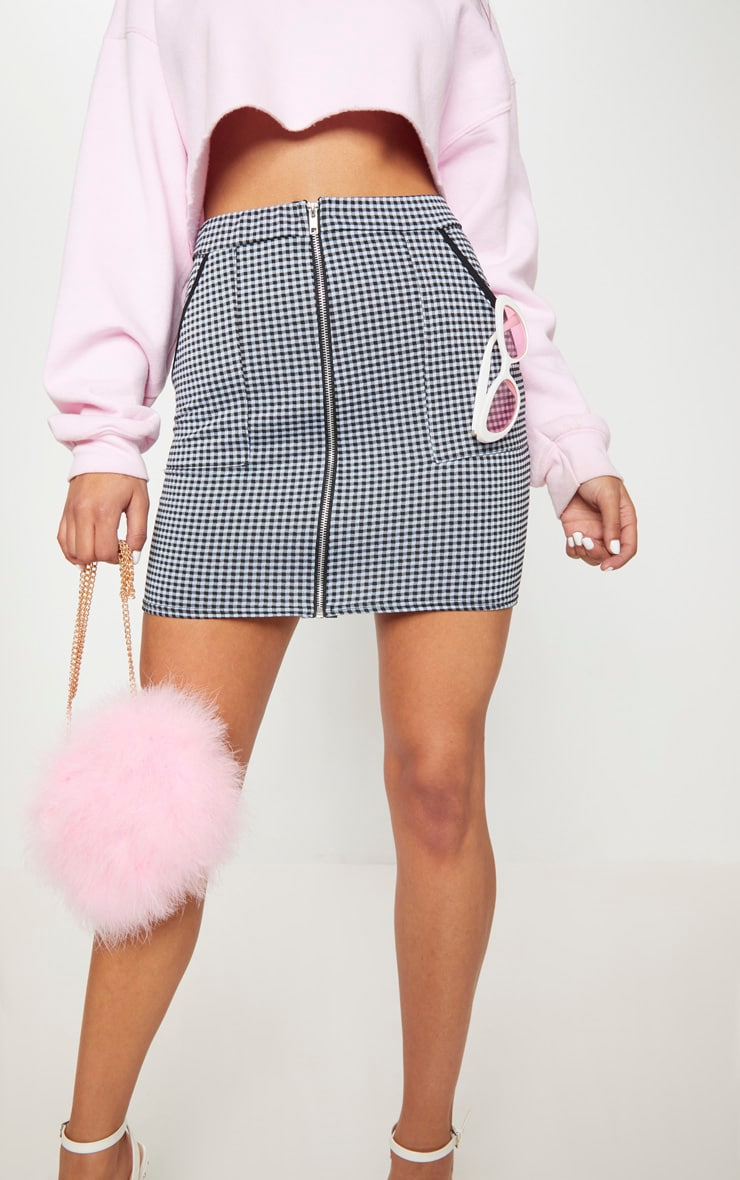 Pale Blue and White Gingham Zip Front Mini Skirt 6