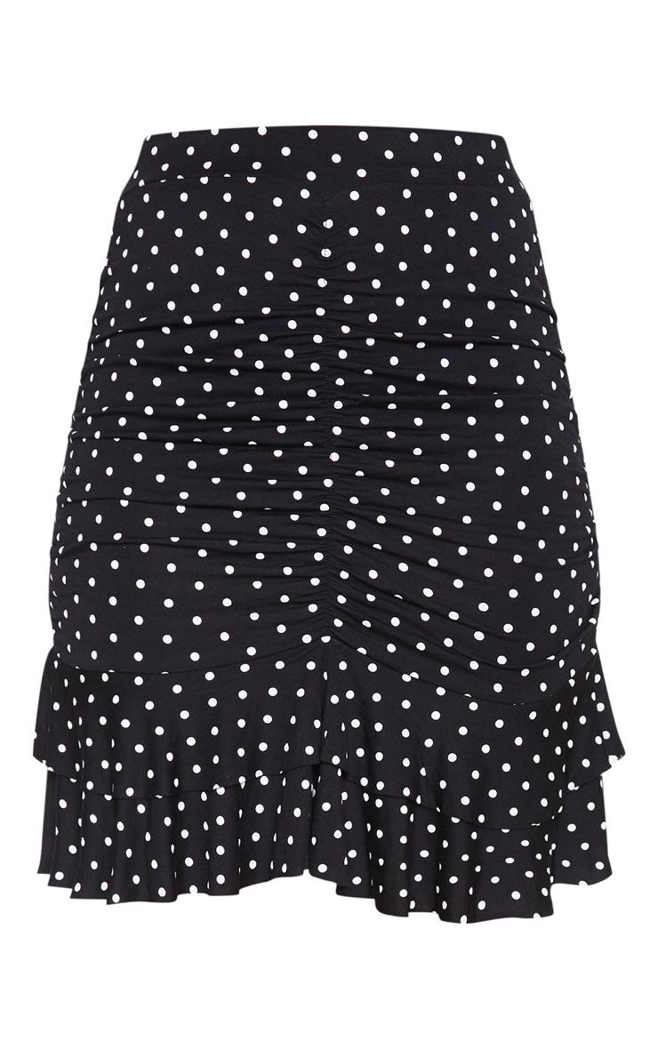 White Polka Dot Ruched Frill Hem Mini Skirt  3