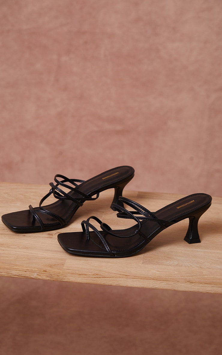Black Low Flare Heel Strappy Mules 4