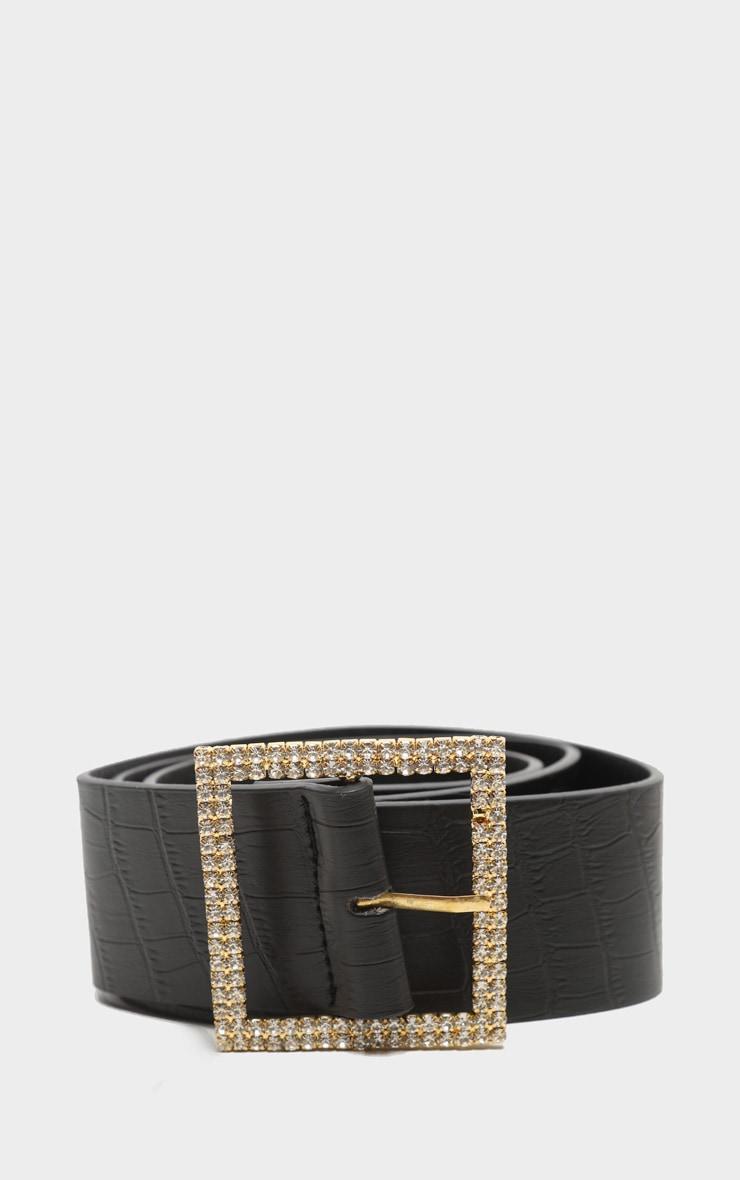 Gold Diamante Buckle Back Croc PU Waist Belt 1