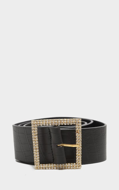 Gold Diamante Buckle Back Croc PU Waist Belt