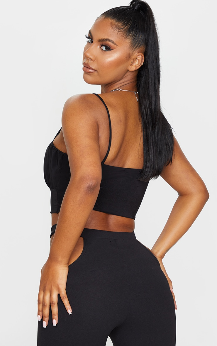Black Slinky Ruched Bust Crop Top 2