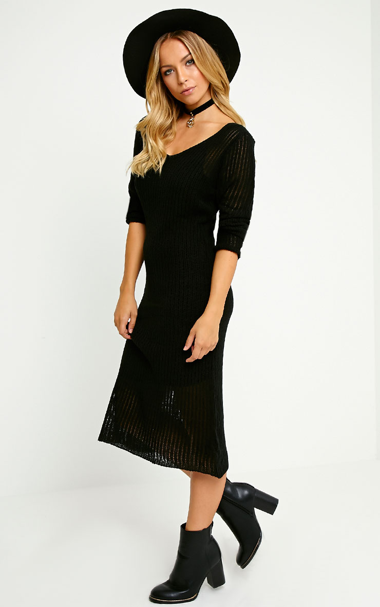 Dellar Black Knitted Long Line Dress 1