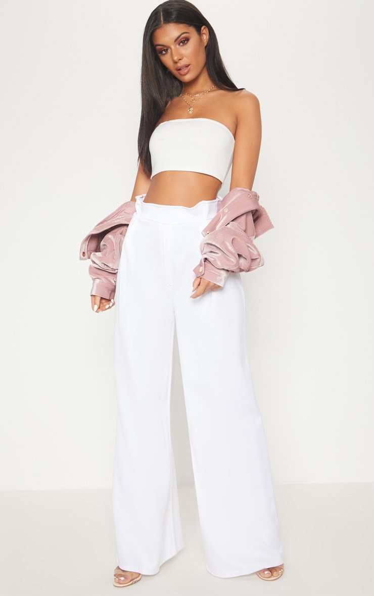 White Contrast Stitch Paper Bag Wide Leg Trouser 1