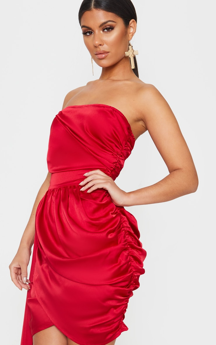Red Satin Ruched Drape Detail Bodycon Dress 5